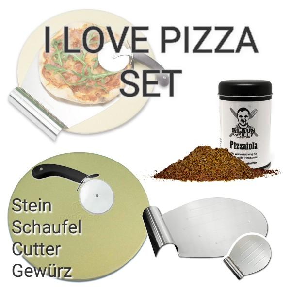 RADOLEO® I LOVE PIZZA SET - Pizzastein SET RUND + Klaus Grillt Pizzaiola Gewürzmischung