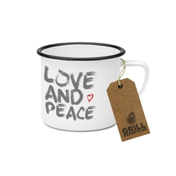 "Metallbecher ""Love and Peace"" - 400ml Campingbecher"