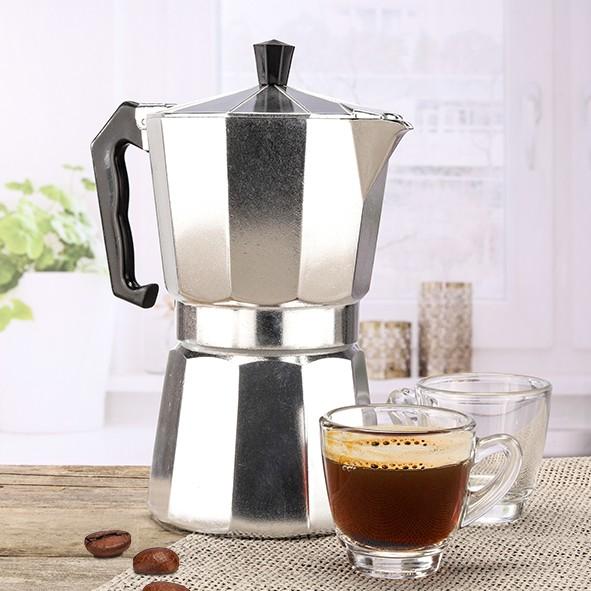 Espressokocher für 6 Tassen - 300ml - Aluminium - 16,7 x 10,2 x 20,5cm