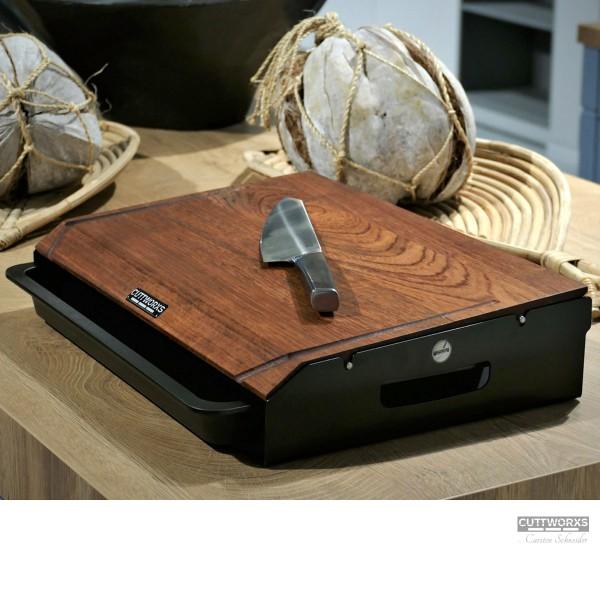 CUTTWORXS - Black 'n Wood Infinity - Nussbaum Holz & Stahl - 44x30cm - Profi Arbeitsstation