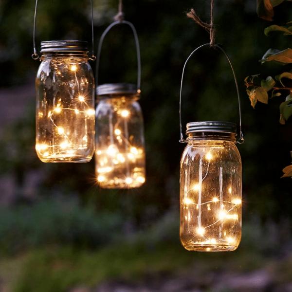 "LED Solarglas ""Jamjar"" - LED Drahtlichterkette - Lichtsensor - H:18cm, D: 8cm - transparent"