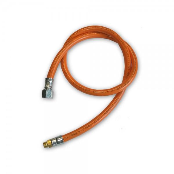 """Gasschlauch Mitteldruck orange - 1 Meter - 6,3x3,5mm, G3/8"""" LH-ÜM x AG 7/16""""x28 UNEF"""