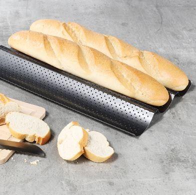 Baguettblech für 3 Brote - Ideal für Knoblauch-/Kräuterbaguett - 38cm - Carbostahl