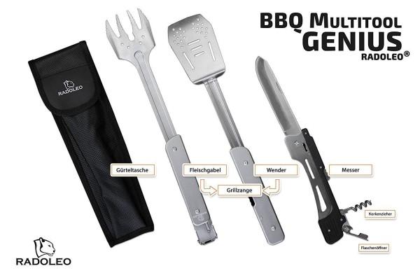 RADOLEO® Grill-Multi-Tool GENIUS Grillbesteck   Zange, Wender, Grillmesser, Fleischgabel, Flaschenöffner, Korkenzieher