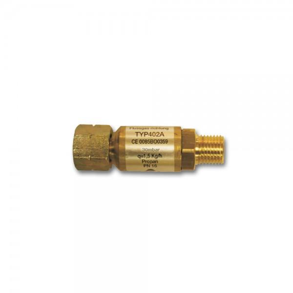 Schlauchbruchsicherung Gas 30mbar, 1,5kg/h - Propangas - TYP402A Sicherheitsventil