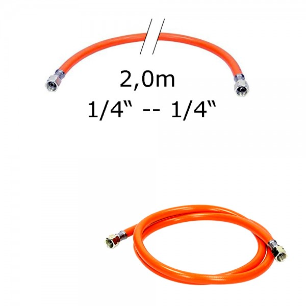 """Gasschlauch 2,0m - Mitteldruck orange 6,3x3,5mm; Gewebeeinlage - 1/4"""" auf 1/4"""" Überwurfmutter"""