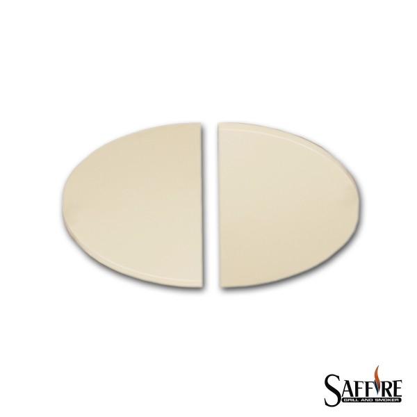 """SAFFIRE Deflektorstein, zweiteilig - für Kamado XL (23""""/58cm) Keramikgrill"""