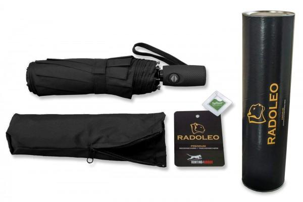 RADOLEO® Schwarzer Taschenschirm in Hochwertiger Geschenkbox | Premium Automatik | Windstabil bis 140 km/h | Auf-Zu-Automatik | Teflonbeschichtung - 100% Polyester