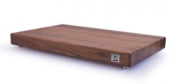 ZAYIKO Premium Schneidebrett Nussbaum - 45x28,5x4,8cm - flach , mit Füßen aus Edelstahl