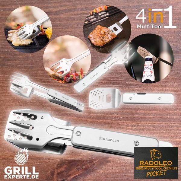 RADOLEO® Grill-Multi-Tool GENIUS POCKET Grillbesteck | Zange, Wender, Messer, Gabel, Öffner, Zieher
